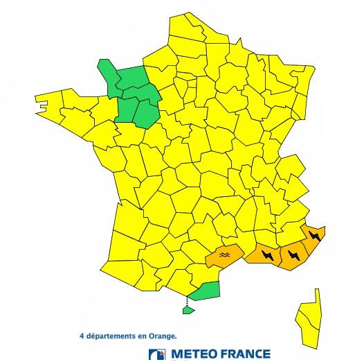 Orages Inondations : 4 départements du sud est en alerte orange
