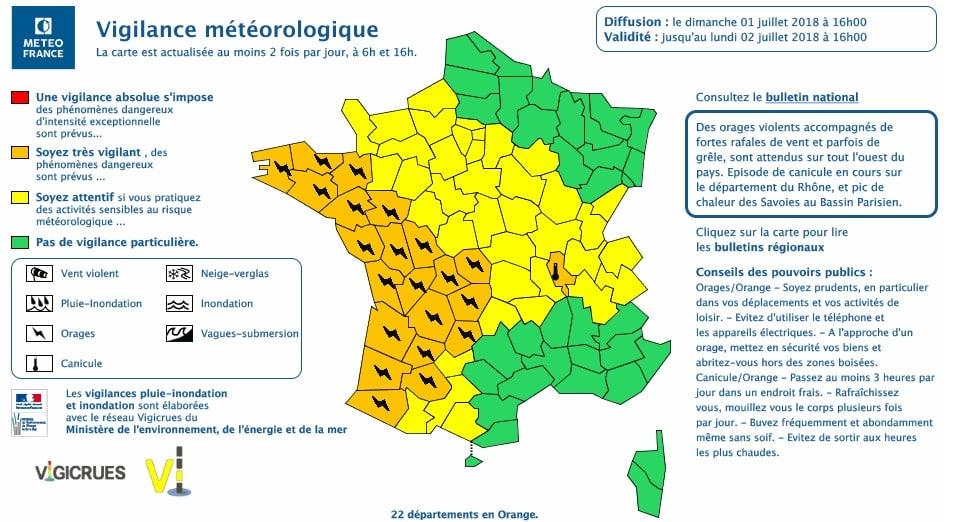 Alerte aux orages. Gers et Lot en alerte orange, Toulouse et la Haute Garonne en alerte jaune