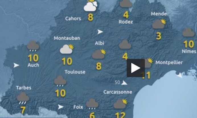 Pluie à Toulouse, Neige en montagne, froid, une fin de semaine d' hiver