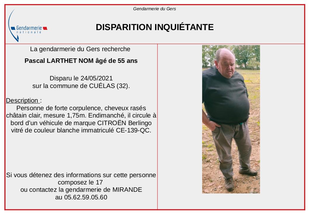 Disparition inquiétante d'une homme de 55 ans dans le Gers