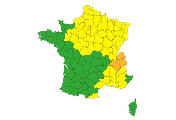 Orages est France vigilance orange jaune