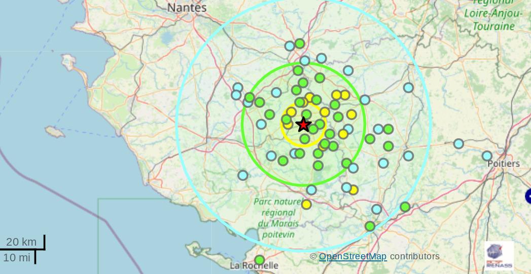 Tremblement de terre entre Nantes et Poitiers
