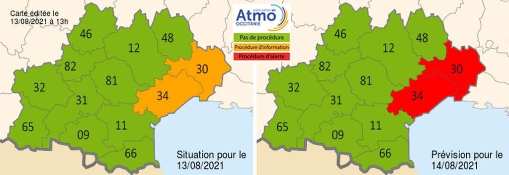 Episode de pollution prévu sur les départements du Gard, de l'Hérault